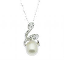 Pearl Pendant - 8mm Freshwater Oval Pearl with CZ Setting - Sterling Silver